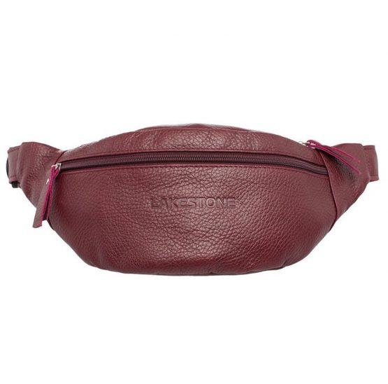 поясная бордовая сумка