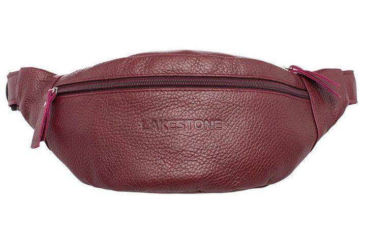 Кожаная сумка на пояс Lakestone 3623, размер: 26*10, бордо