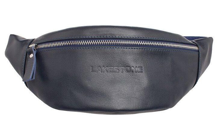 Кожаная сумка на пояс Lakestone 3625, синяя