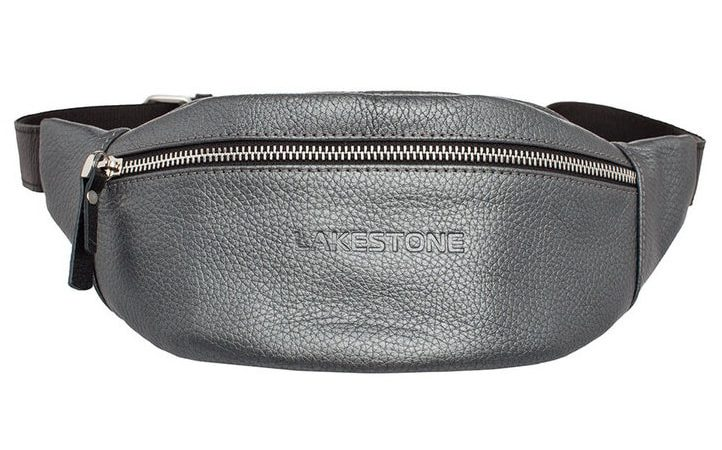Кожаная сумка на пояс Lakestone 3622, 26*10, серебро
