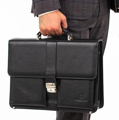 мужской черный портфель из натуральной кожи